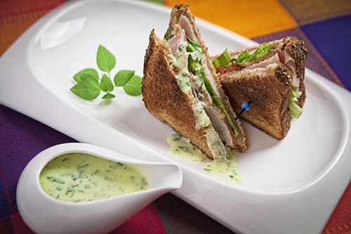 Creamy Dressing to the Herbs in a sandwich