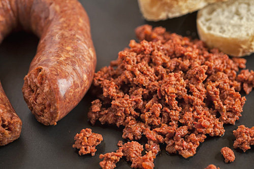Chorizo accompanied with bread ...