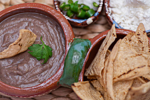 Black Bean Dip served with tortilla chips