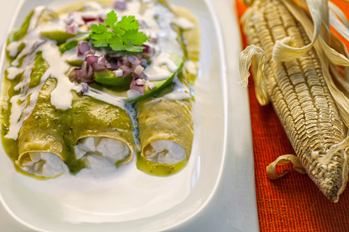 Green Enchiladas with Cottage Cheese