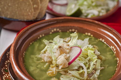 Green Pozole with Chicken accompanied with more ingredients