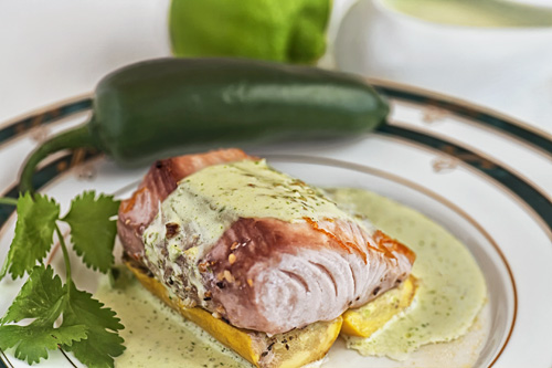 The Lima and Coriander Salsa served on salmon